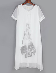 Women's Vintage Simple Round Neck Floral Loose Midi Dress