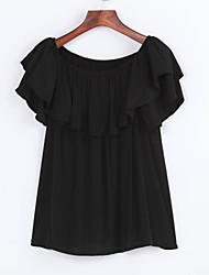 Women's Casual/Daily Simple Summer Shirt,Solid Boat Neck Short Sleeve Black Polyester Opaque