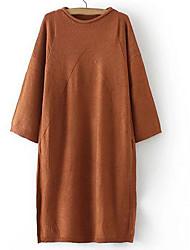 Damen Standard Pullover-Ausgehen Lässig/Alltäglich Einfach Solide Blau Rot Grün Rundhalsausschnitt ¾-Arm Polyester Herbst Mittel