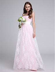 LAN TING BRIDE Floor-length Strapless Bridesmaid Dress - Elegant Sleeveless Lace Tulle