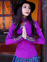 Our Story Women's Casual/Daily Boho Fall T-shirtEmbroidered Turtleneck Long Sleeve Purple Cotton / Polyester