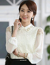 Women's Lace Casual/Daily Simple Spring/Summer/Fall Blouse,Solid Shirt Collar Long Sleeve White Thin