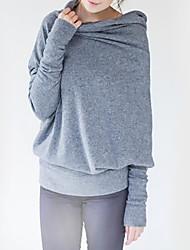 Damen Solide Einfach Lässig/Alltäglich T-shirt,Rollkragen Langarm Grau Polyester