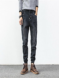Men's Loose / Skinny Jeans Pants,Casual/Daily Simple Solid Mid Rise Zipper Cotton Inelastic Fall / Winter