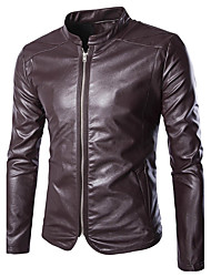 Men's Casual/Daily Simple Leather JacketsSolid Stand Long Sleeve Fall / Winter Red / Black PU Thick