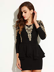 Women's Plus Size / Casual/Daily Simple Bodycon Dress,Print Round Neck Above Knee Long Sleeve Polyester Fall