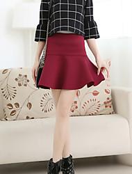 Damen Röcke,A-Linie einfarbigAusgehen Mittlere Hüfthöhe Mini Knopf Polyester Micro-elastisch All Seasons