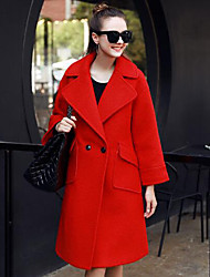 Women's Casual/Daily / Work Sexy Trench Coat,Solid Shirt Collar Long Sleeve Fall / Winter Red Wool Medium