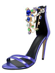 Mujer-Tacón Stiletto-Otro-Sandalias-Oficina y Trabajo Vestido Informal Fiesta y Noche-Semicuero-Azul
