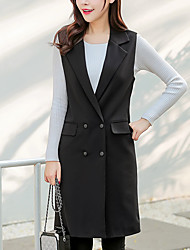 Women's Casual/Daily Simple / Street chic JacketsSolid Double Breasted Waistcoat Notch Lapel Sleeveless Spring / Fall Medium