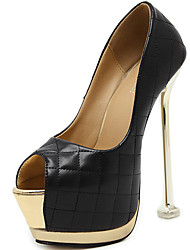 Damen-High Heels-Kleid Lässig Party & Festivität-Leder-Stöckelabsatz-Plateau Komfort-Schwarz Weiß