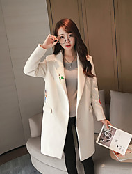 Women's Casual/Daily Simple Coat,Solid V Neck Long Sleeve Winter White Polyester Medium