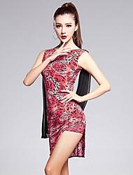Latin Dance Outfits Women's Performance Lycra Splicing 2 Pieces Sleeveless High Dress / Shorts