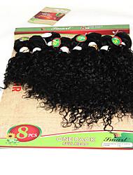 Cabelo Humano Cabelo Brasileiro Cabelo Humano Ondulado Enrolado Cacheado Extensões de cabelo 1 Peça Preto