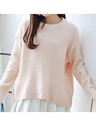 Damen Standard Pullover-Arbeit Retro Solide Rosa Grün Lila Rundhalsausschnitt Langarm Baumwolle Frühling Mittel Mikro-elastisch
