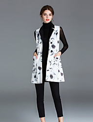 Feminino Jaqueta Casual Simples Outono / Inverno,Floral Branco Poliéster Colarinho de Camisa-Sem Manga Média
