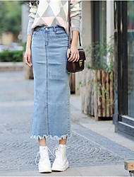 Women's Pencil Solid Denim Skirts,Casual/Daily Simple / Street chic Mid Rise Midi Zipper Cotton Micro-elastic Summer