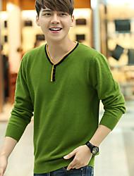 Мужчины На выход / Вечеринка/коктейль / Праздник Винтаж / Уличный стиль / Изысканный Обычный Пуловер С принтом,Зеленый V-образный вырез