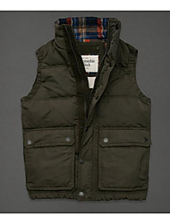 Men's Regular Down Coat,Simple Casual/Daily Solid-Cotton White Goose Down Sleeveless Blue / Red / Green