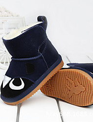 Girl's Baby Boots Winter Others Comfort Cowhide Outdoor Casual Flat Heel Magic Tape Blue Brown Yellow Red