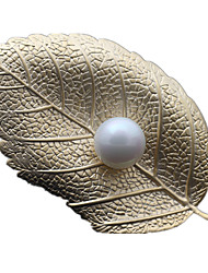 Women's Brooches Pearl Leaf Gold Silver Golden Jewelry Daily
