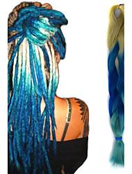 "beige chiaro blu zaffiro crochet ombre 24"" yaki kanekalon 3 tono 100g trecce jumbo capelli sintetici"