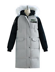 Women's Long Down Coat,Cute Casual/Daily Solid-Polyester White Duck Down Long Sleeve Gray / Green