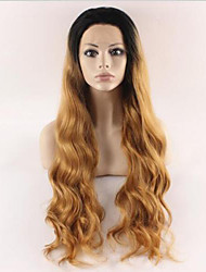 Black Blonde Ombre Synthetic Lace Front Wig For Black Women Natural Wavy Cheap Good Looking Synthetic Lace Wigs Heat Resistant
