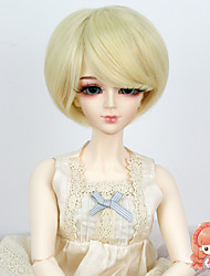1/3 1/4 BJD SD MSD Doll Wig Synthetic Short Straight Bleach Blonde Color Hair Wig Not for Human Adult