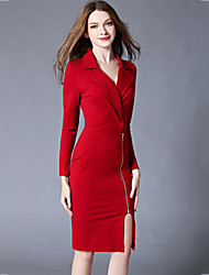 Women's Split Slim zip chic Bodycon DressSolid Notch Lapel Knee-length Long Sleeve Red / Black Polyester Spring Mid Rise Micro-elastic