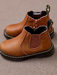 Girls' Boots Fall Winter Leather Outdoor Casual Black Khaki