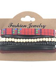 Bracelet Bracelets en cuir Cuir / Tissu Amitié / Mode / Bohemia style / Personnalisé / Fait à la main Décontracté Bijoux Cadeau Brun,1set