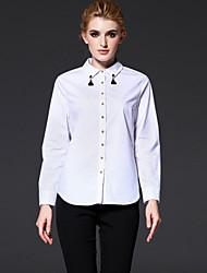 Feminino Camisa Casual / Formal / Trabalho Simples Outono / Inverno,Sólido Branco Algodão Colarinho de Camisa Manga Longa Média