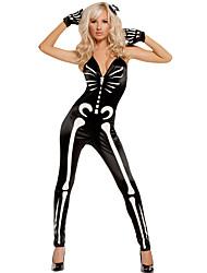 Costumes de Cosplay Ange et Diable Fête / Célébration Déguisement Halloween Noir Imprimé Collant/Combinaison / Gants Halloween / Carnaval
