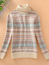 Damen Kurz Pullover-Lässig/Alltäglich Einfach Druck Beige Grau Rollkragen Langarm Acryl Herbst Mittel Mikro-elastisch