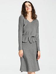 Damen Röcke,A-Linie einfarbig Gestrickt,Ausgehen / Lässig/Alltäglich / Arbeit Sexy / Einfach / Street Schick Mittlere Hüfthöhe Knielänge