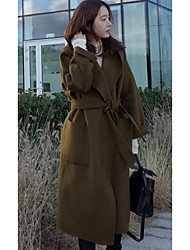 Women's Going out / Casual/Daily Simple Coat,Solid Hooded Long Sleeve Winter Green Wool Thick