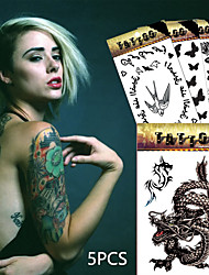 5 Tattoo Stickers Animal Series / Flower Series / Totem Series / Others / Cartoon Series / Romantic SeriesNon Toxic / Pattern / Large