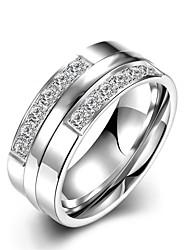 Муж. Жен. Кольца для пар Кольцо Обручальное кольцо Мода Первоначальные ювелирные изделия Нержавеющая сталь Циркон Бижутерия Назначение