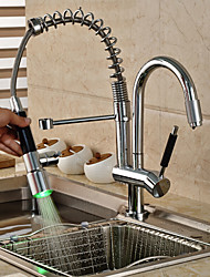 Contemporain / Décoration artistique/Rétro / Modern Pull-out / Pull-down Vasque LED / Avec spray démontable / Pivotant with  Valve en