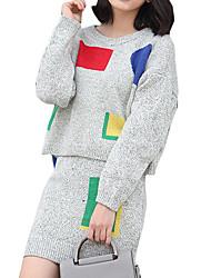 Damen Geometrisch Einfach Ausgehen / Lässig/Alltäglich Set Rock Anzüge,Rundhalsausschnitt Herbst / Winter Langarm Weiß / Grau Baumwolle