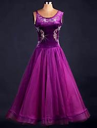 VestidosOrgandí / TerciopeloMujer Cristales/Rhinestones / Flor (es) / Corte Representación