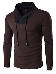 Men's Casual/Daily Work Sports Simple Active Regular Pullover,Color Block Red Black Brown V Neck Long Sleeve Cotton Spring Medium Stretchy