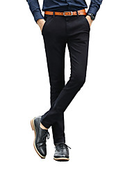 Men's Low Rise Micro-elastic Chinos Business Pants,Simple Chinoiserie Straight Slim Solid