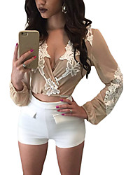 Women's Lace Applique Wrapped Long Sleeve Crop Top