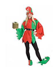 Costumes de Cosplay Costumes de père noël Fête / Célébration Déguisement Halloween Rouge / Vert Couleur Pleine Strings / Bottes / Chapeau