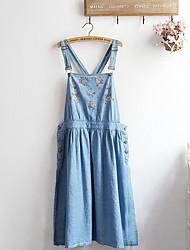 Trapèze Robe Femme Décontracté / Quotidien simple,Couleur Pleine Col en U Mi-long Sans Manches Bleu Coton Eté Taille Normale