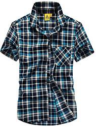 Men's Wedding Vintage Shirt,Houndstooth Shirt Collar Short Sleeve Multi-color Cotton