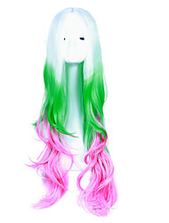 Lovely Lolita White to Green to Pink Color Mixed Colorful Anime Cosplay Wig Heat Resistant Beautiful Party Costume Wig Cheap High Quality