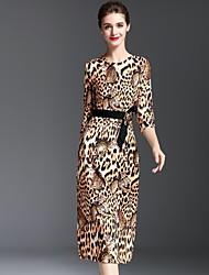 Mujer Vaina Vestido Casual/Diario Simple,Leopardo Escote Redondo Midi 1/2 Manga Marrón Poliéster Otoño Tiro Medio Rígido Medio